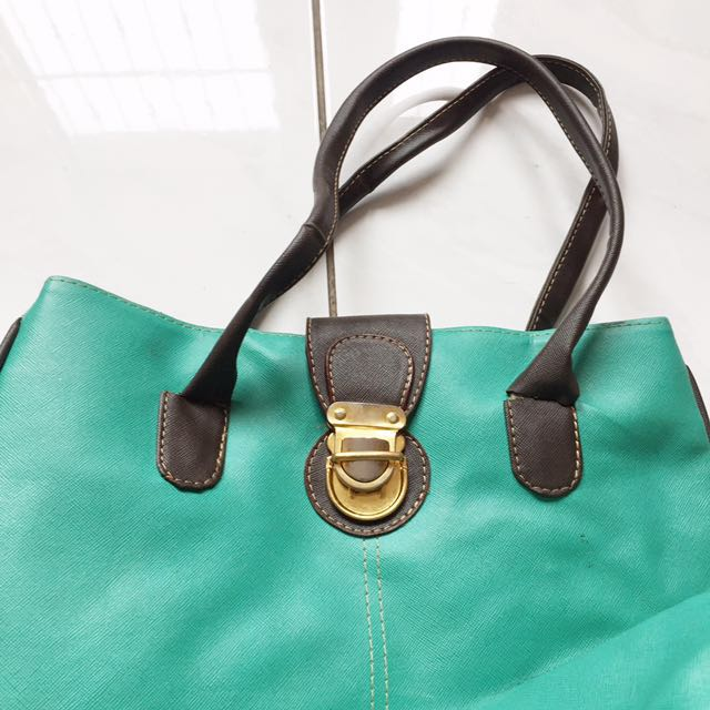 Mint choco leather bag
