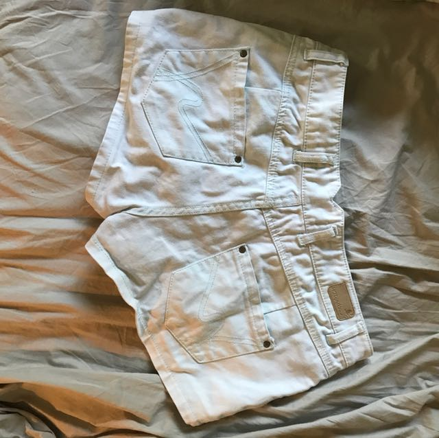 Mint coloured denim shorts