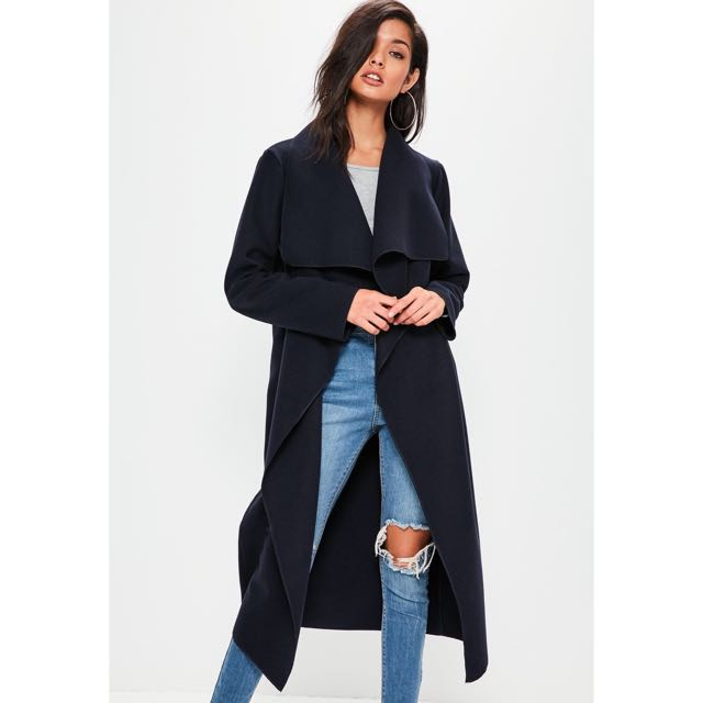 Missguided Navy long sleeve waterfall duster coat