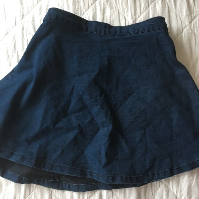 Navy blue denim like skirt