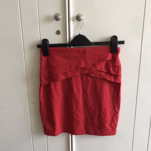 (NEW) Red Bodycon Skirt