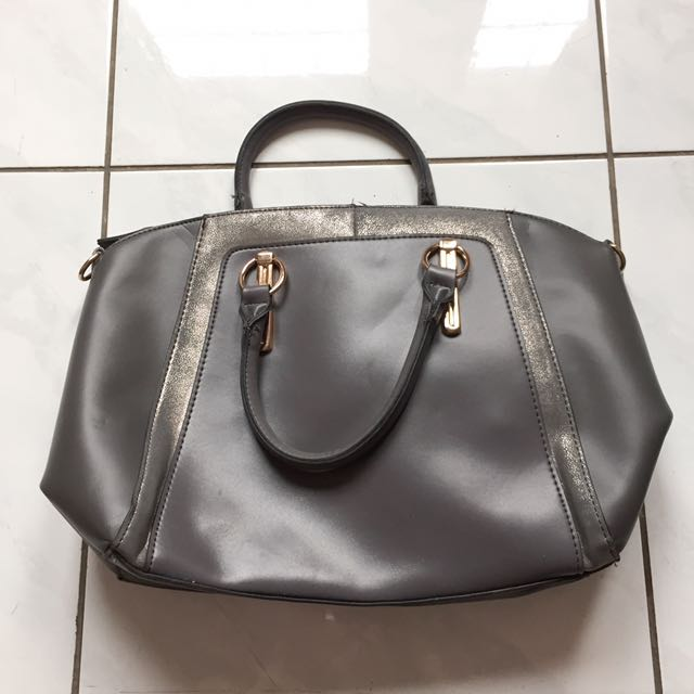 Ori newlook grey leather bag