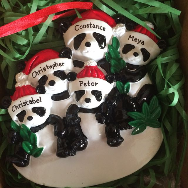 Personalized Panda Family of 5 Christmas Ornament