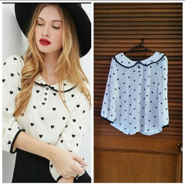Peter pan collar heart blouse - Fits 6-8
