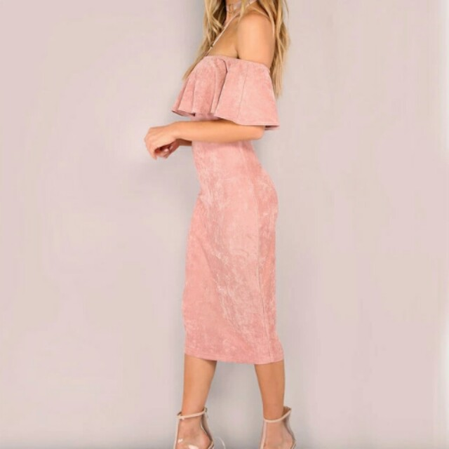 Pink Faux Suede Off Shoulder Frill Dress Midi