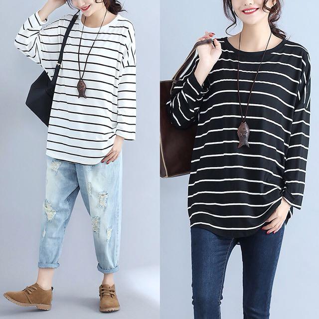 29a5d9bc893 Plus Size Korean fashion large size women s striped T shirt shirt ...