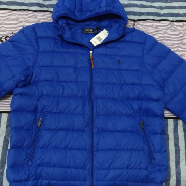POLO 純棉 羽絨外套 保暖  藍色 SIZE XL