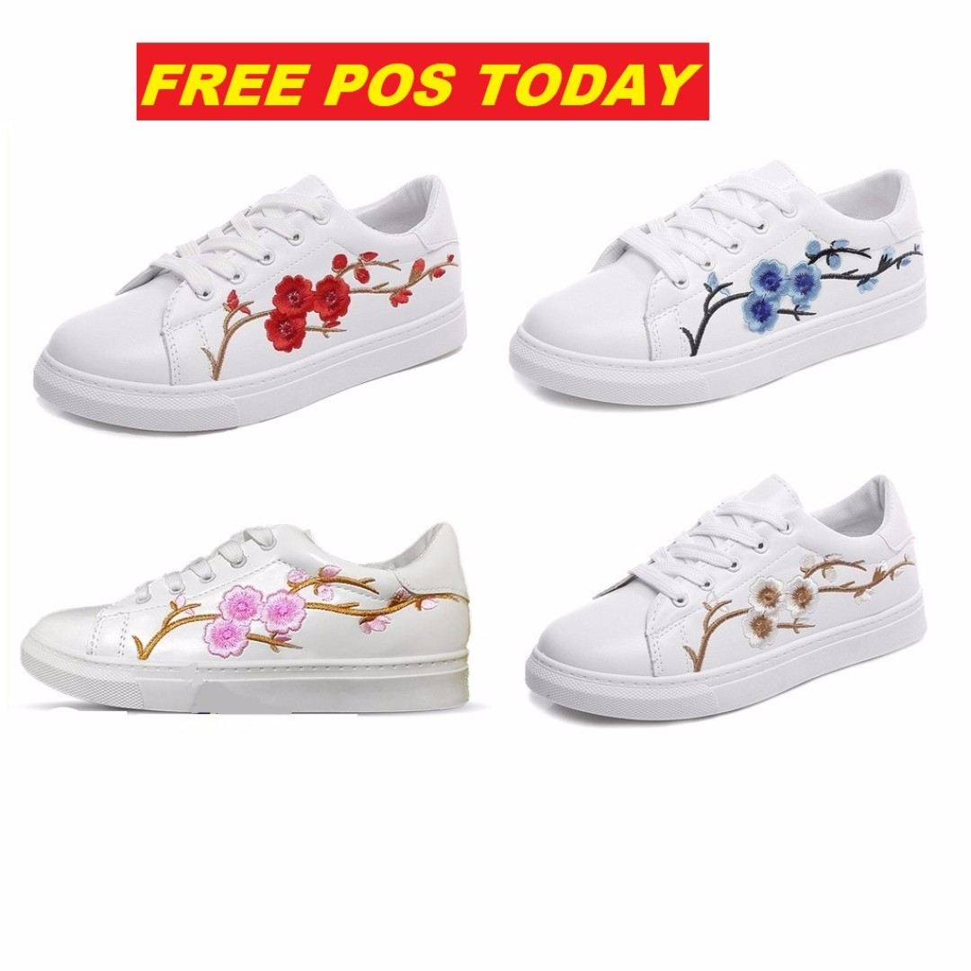 🌟READY STOCK🌟 Plum Flower Embroidery Sneaker FREE POS TODAY ONLY