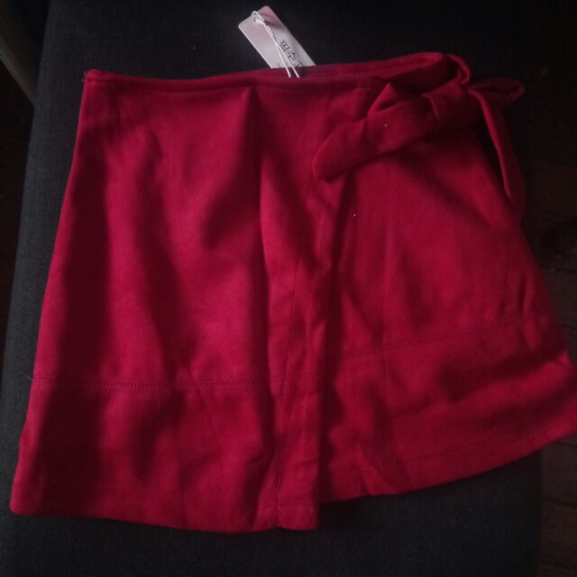 red suede wrap skirt