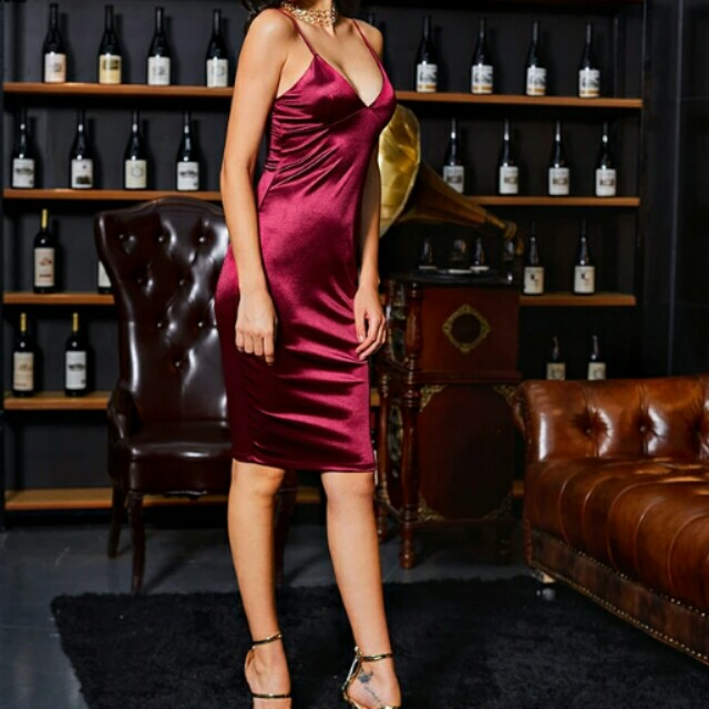 Satin Sexy Burgundy Midi Dress