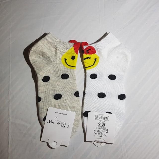 Smiley polka dots socks size 9-12