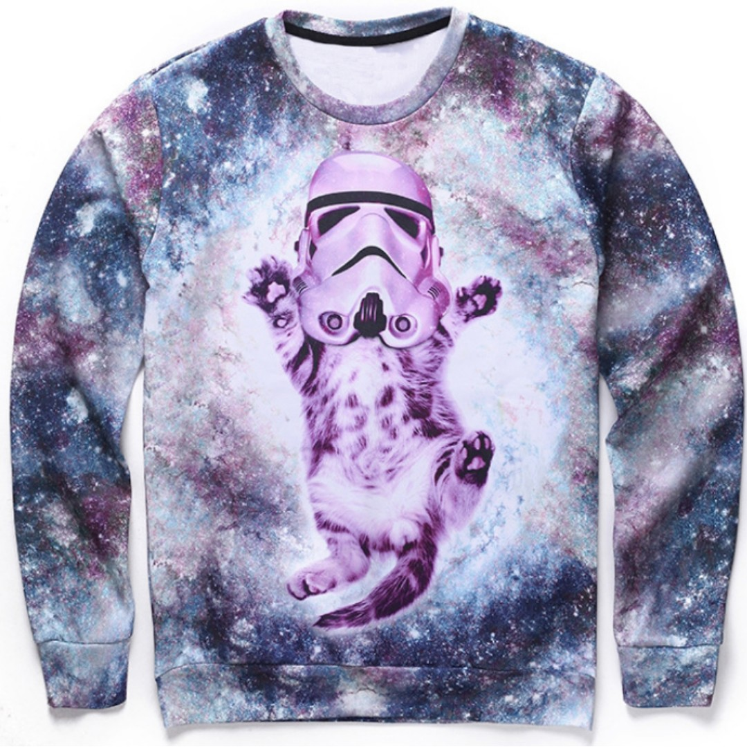 bd52fc36643e STAR WARS KITTY CAT - LONG SLEEVE 3D STREET WEAR SWEATER