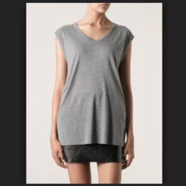 T BY ALEXANDER WANG Iconic Scoop Neck Pocket Top sz L