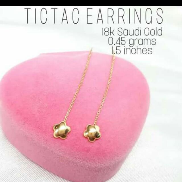 Tictac earrings 18k saudi gold