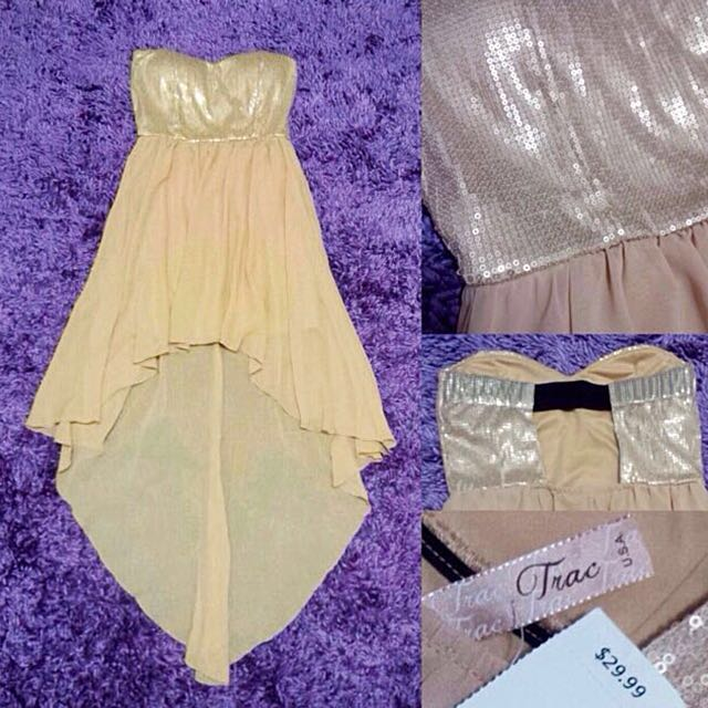 TRAC Gold Sequin High Low Dress