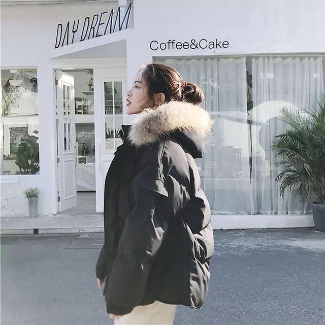 韓ulzzang連帽拼接毛領鋪棉外套/3色