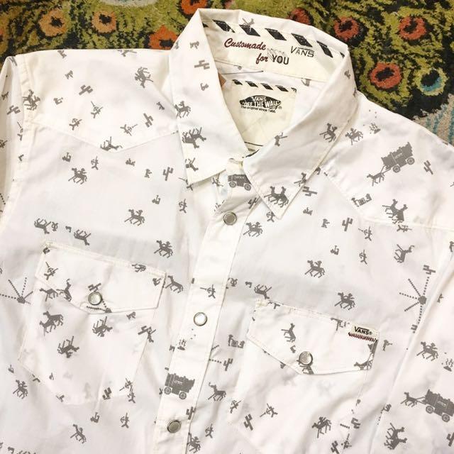 顛復古⚡️Vans童趣電玩遊戲馬車仙人掌圖案長袖襯衫❤️男女皆可