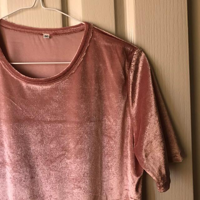 VELVET T-SHIRT DRESS