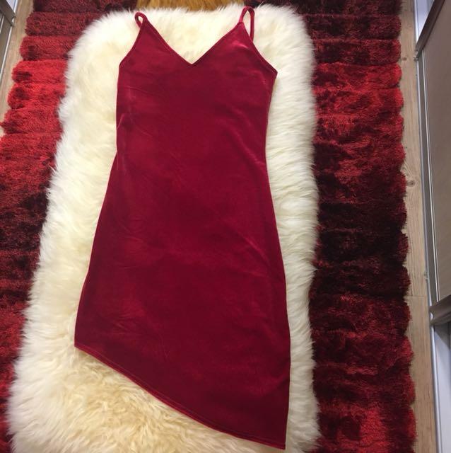Velvet uneven red dress
