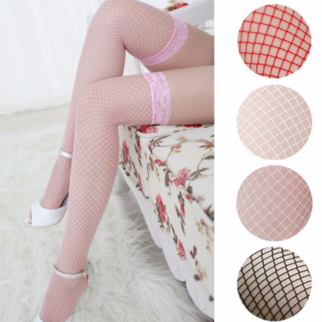 White, Red, Pink or Black Fishnet Thigh High Stockings