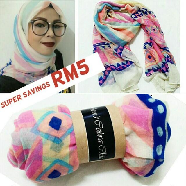 🆕Wide cotton cashmere shawl RM10 (U.P. RM15)