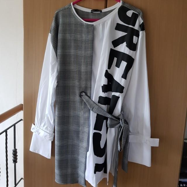 ZARA Contrasting Asymmetric T-shirt