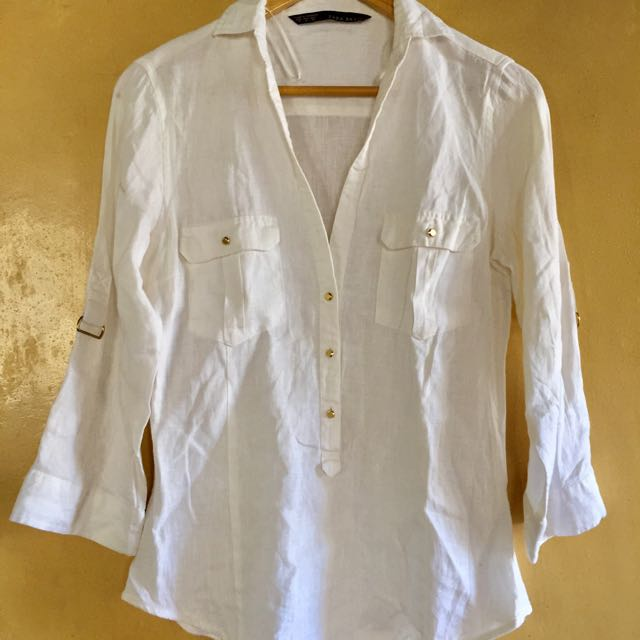 ZARA WHITE COLLARED BLOUSE