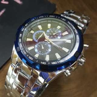實拍★Creyes鐘錶★ CURREN 海洋藍邊三眼不銹鋼黑色大錶面男錶 #MK 三眼 勞力士 父親節 禮物 情侶 CK