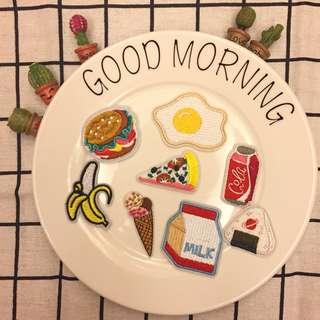CR Lifestyle 食物布貼 早餐布貼 飲料布貼 補丁 刺繡布貼 有背膠 DIY 手作 手作材料 可愛布貼