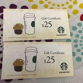 Starbucks 50蚊現金卷