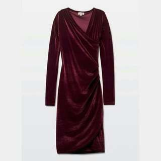 Aritzia Velvet Wine Wilfred Klum Dress XXS