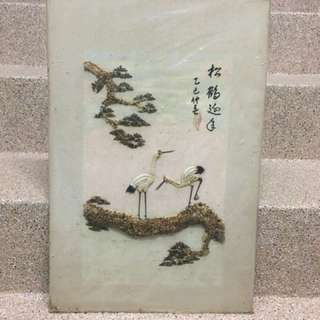 Antique seashell chinese artwork on canvas