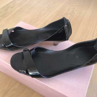 Miu Miu black kitten heel 37.5