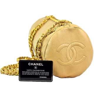 Vintage Chanel Handbag Round Beige Chanel Shoulder Bag