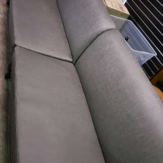3 Piece 5m Long Silver Faux Leather Couch