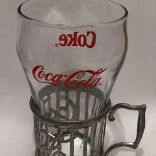 1985年 絕版Coca Cola玻璃杯連金屬杯托