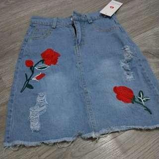 Floral denim skirt embroidery