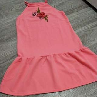 Pink embriodery dress