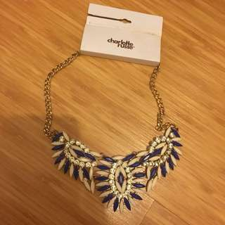 Charming Charlie blue and white statement necklace