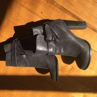 Mollini high heel boots - gunmetal grey, size 7