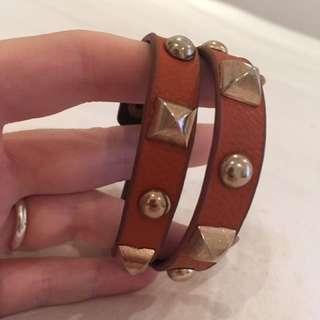 Studded vegan leather wrap bracelet and chocker necklace