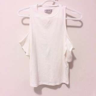 Abercrombie & Fitch • White cold shoulder shirt
