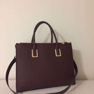 H&M Large Structured Maroon Handbag (Satchel/Tote)