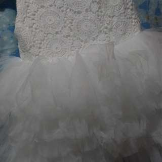 White Fluffy Dress with layers of soft tool.