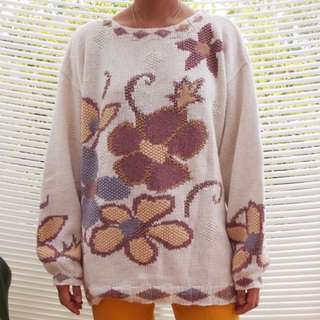 Vintage Floral Knit Sweater