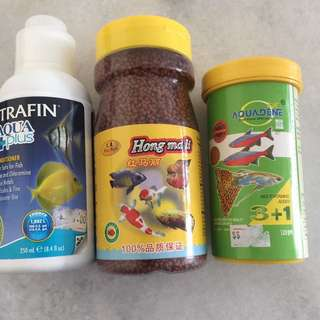 Fish food and Anti Chlorine solution (3 items)