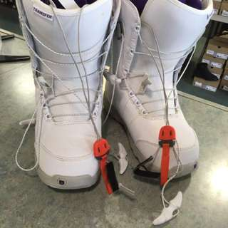Snowboard, boots, bindings, helmet & leash