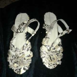 Snake skin heel sandals