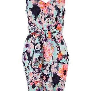 Closet Almari V Back Print Tie Back Dress Multi-Coloured Tulip Dress, UK10