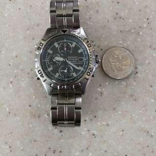 精工石英 鈦金屬錶殼連帶 機芯7T32B 灰面